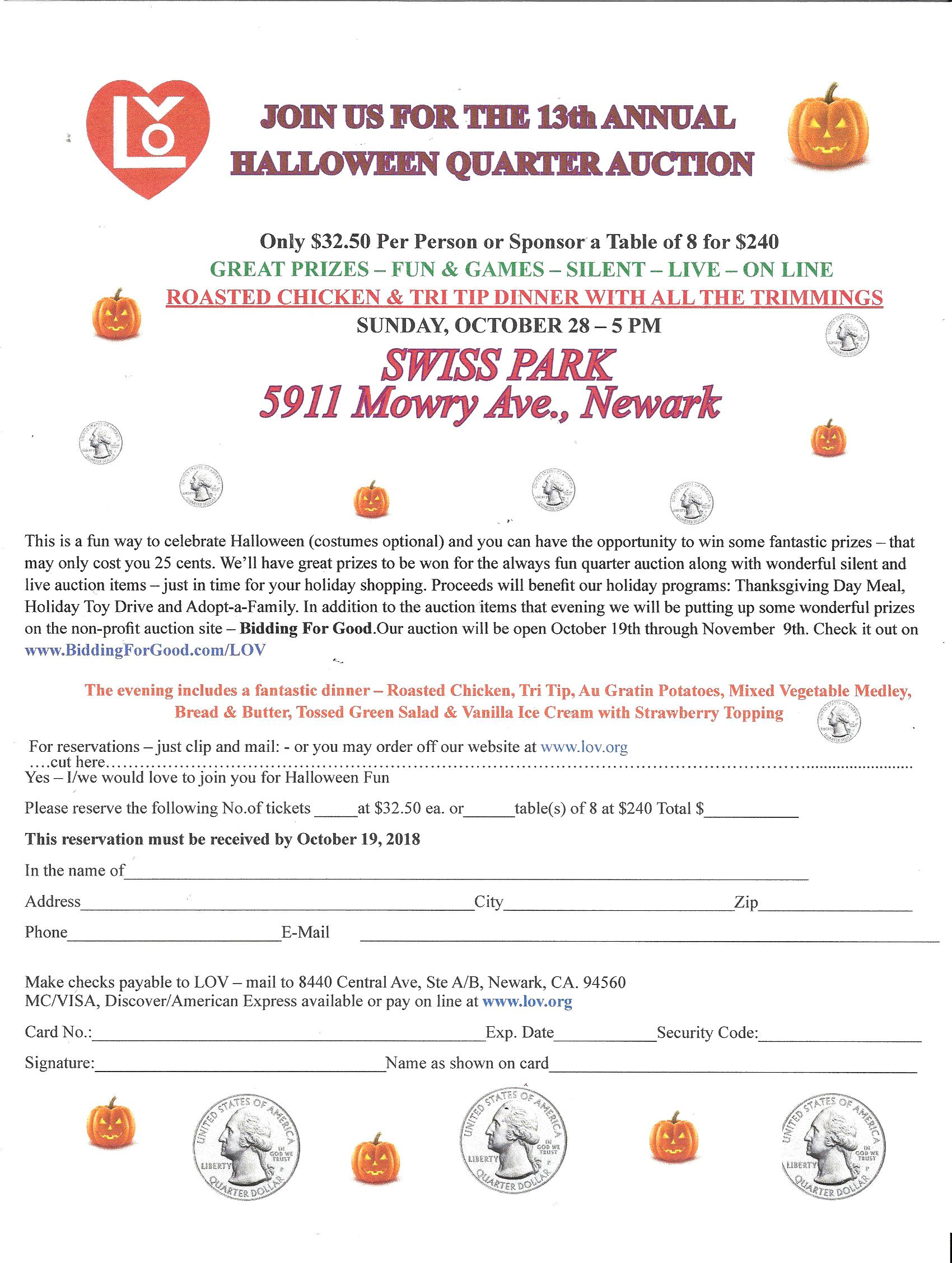 HALLOWEEN QUARTER AUCTION